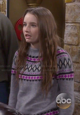 Eve's grey and pink fair isle sweater on Last Man Standing