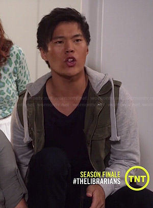 Ezekiel's green jacket with grey hood and sleeves on The Librarians