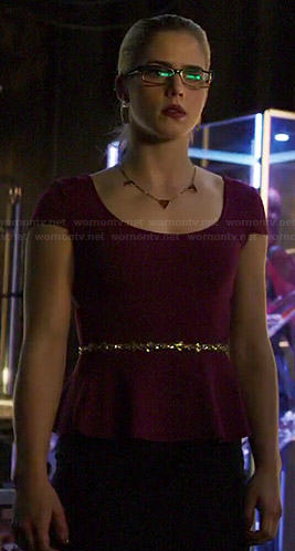 Felicity's burgundy peplum top on Arrow