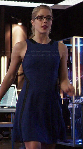 Felicity's blue dress with black leather insets on Arrow