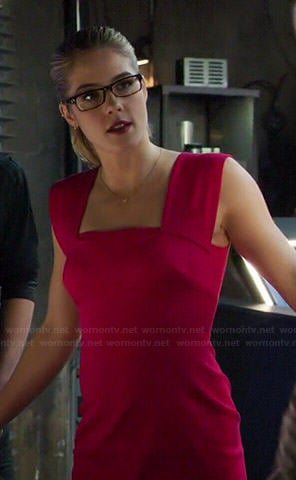 Felicity's pink square neck dress on Arrow