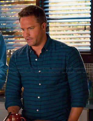 George's blue striped shirt on Hart of Dixie