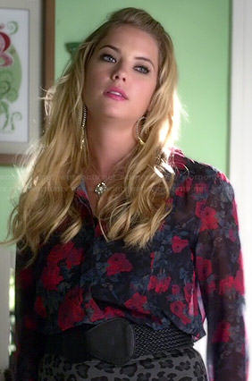 Hanna's floral blouse and leopard print skirt on Pretty Little Liars
