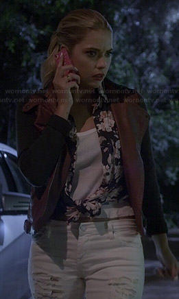 Hanna's white ripped jeans and two-tone leather jacket on Pretty Little Liars