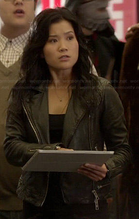 Happy's black leather jacket with zip waist on Scorpion