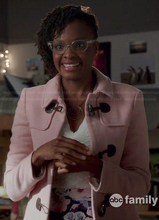 Iris's pink toggle coat on Switched at Birth