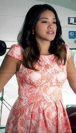 Jane's coral and white printed fit and flare dress on Jane the Virgin