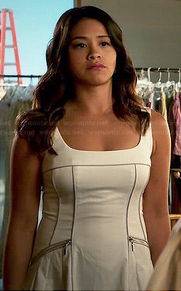 Jane's white dress with zip sides on Jane the Virgin