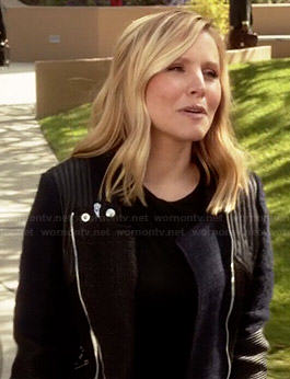 Jeannie's blue and black tweed and leather jacket on House of Lies