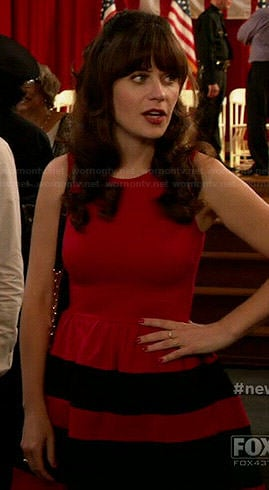 Jess's red dress with black stripes on New Girl