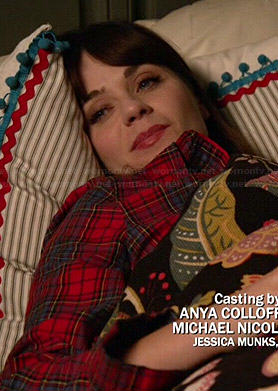 Jess's red plaid pajamas on New Girl
