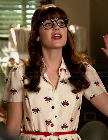 Jess's umbrella print dress on New Girl