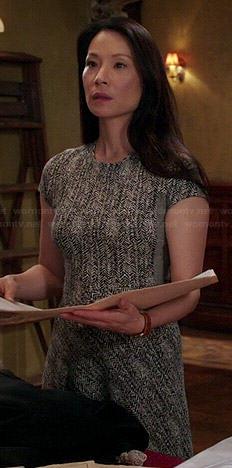 Joan's grey herringbone dress on Elementary