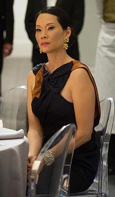 Joan's navy and tan bow gown on Elementary