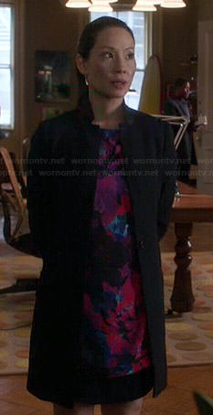 Joan's pink and purple floral shift dress on Elementary