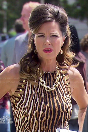 Joan's studded leopard print gown on Parks and Recreation