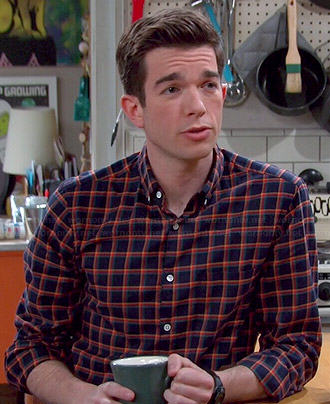 John's navy and orange checked shirt on Mulaney