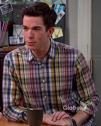 John's multi colored plaid shirt on Mulaney