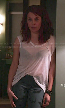 Jo's sheer white muscle tee and printed leggings on Girlfriends Guide to Divorce