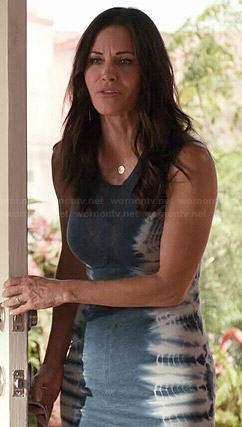 Jules's blue dress with tie dyed sides on  Cougar Town