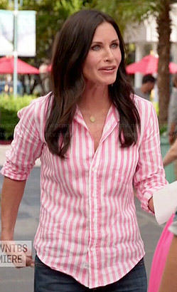 Jules's pink candy striped shirt on Cougar Town