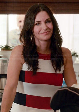 Jules's red, white and navy striped top on Cougar Town