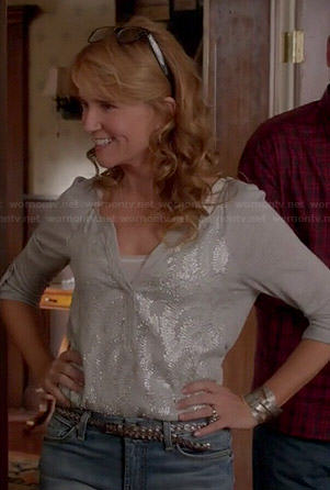 Kathryn's mint beaded top on Switched at Birth