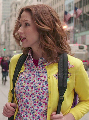 Kimmy's floral shirt and yellow cardigan on Unbreakable Kimmy Schmidt
