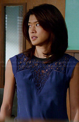 Kono's blue lace panel top on Hawaii Five-O