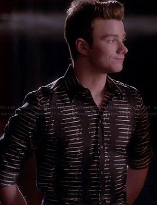 Kurt's black sword print shirt on Glee