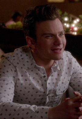 Kurts white geometric print shirt on Glee