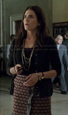 Laurel's geometric patterned leather-trim wrap skirt on How to Get Away with Murder