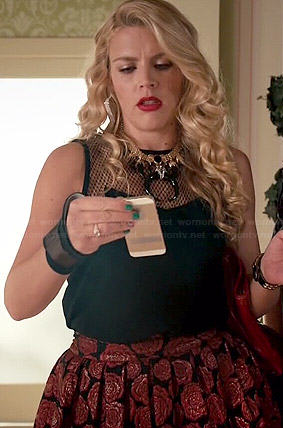 Laurie's black mesh top and rose skirt on Cougar Town