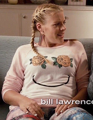 Laurie's floral smiley face sweatshirt on Cougar Town
