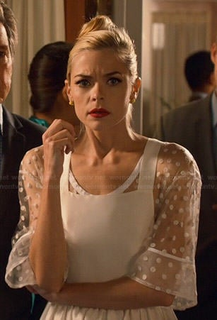 Lemon's sheer white polka dot pinafore dress on Hart of Dixie