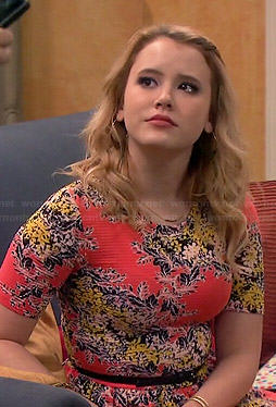 Lennox's coral floral dress on Melissa and Joey