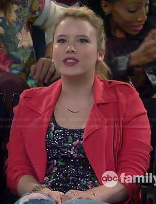 Lennox's floral sequin top and red moto jacket on Melissa and Joey