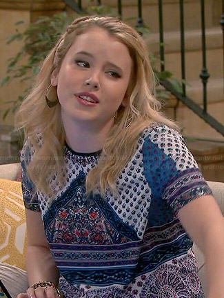 Lennox's blue scarf print top on Melissa and Joey