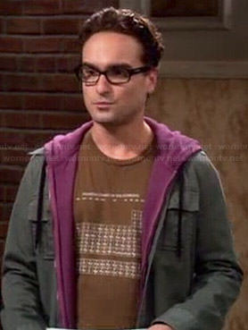 Leonards brown periodic table t-shirt on The Big Bang Theory