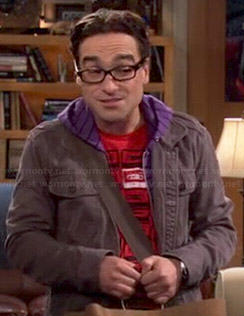 Leonard's red cassette tape shirt on The Big Bang Theory