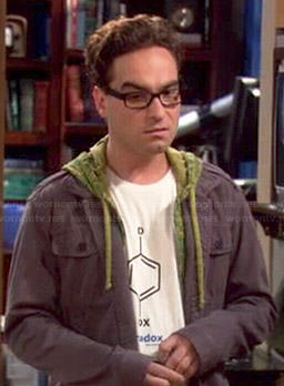 Leonard's paradox molecule shirt on The Big Bang Theory