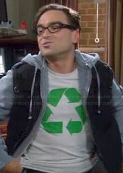 Leonard's white recycle logo shirt on The Big Bang Theory