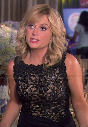 Leslie's black lace top gown on Parks and Recreation
