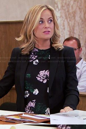 Leslie's black floral top on Parks and Recreation