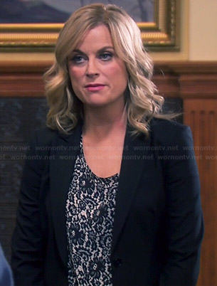 Leslie's lace print top on Parks and Recreation