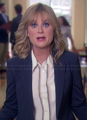 Leslie's cream blouse with pink and black stripes on Parks and Recreation
