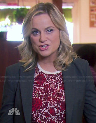 Leslie's red floral and bird print top on Parks and Recreation