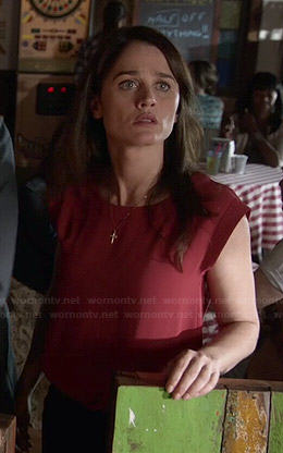 Lisbon's red cuffed sleeve top on The Mentalist