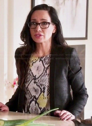 Lyla's snake print blouse and leather blazer on Girlfriends Guide to Divorce
