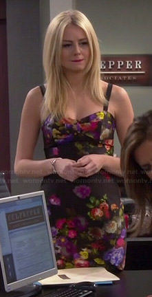 Maddie's black floral fitted dress on Cristela